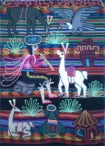 Boliviaans tafereel als versiering.